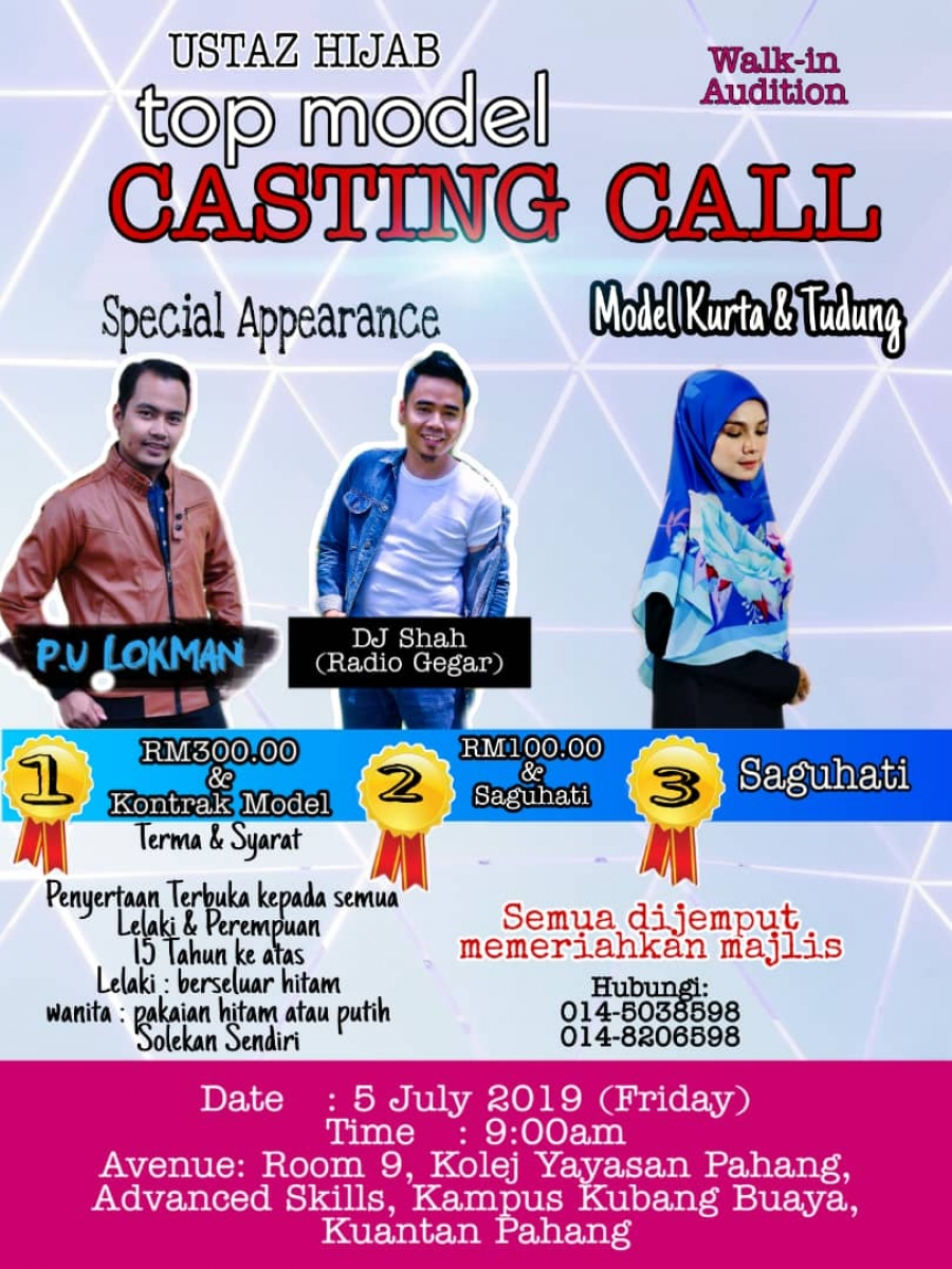 Walk-in Audition USTAZ HIJAB Top Model CASTING CALL